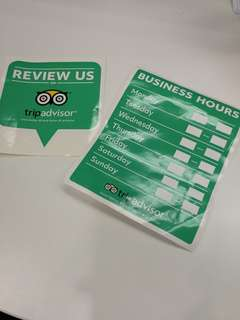 Tripadvisor stickers (restaurants)