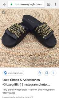 Slides with gold chain detail