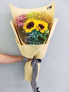 Rainbow baby breath Sunflower Bouquet