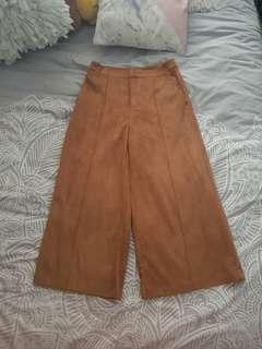 Brown suede style wide leg pants