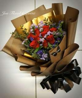 "9""stk FRESH roses bouquet"