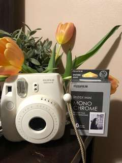 fujifilm instax mini 8 w/ monochrome film, selfie and coloured lens