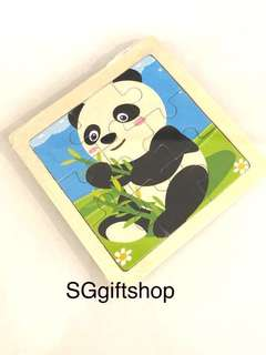 Wooden puzzle (panda / animal theme) - children birthday goodies favors, goodies bag gift, goodie bag packages
