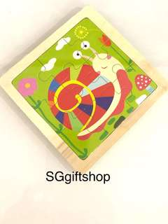 Wooden puzzle (snails) - children birthday goodies gift, goody bag packages, door gifts