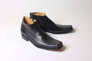Sepatu Boots Kerja Pria Formal Kulit Asli Flavio Venesia Hitam