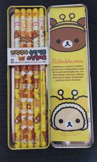 Rilakuma pencil case with pencils