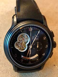 Zenith, auto chronograph, limited edition (28/100) PVD-coated power reserve, see through movement