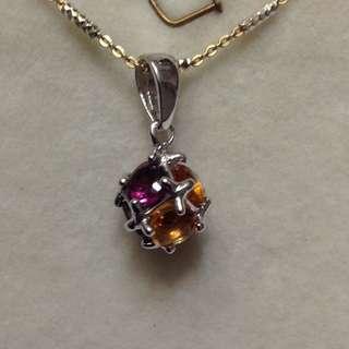 Rhodolite Garnet and Citrine Pendant Necklace in 925 Sterling Silver