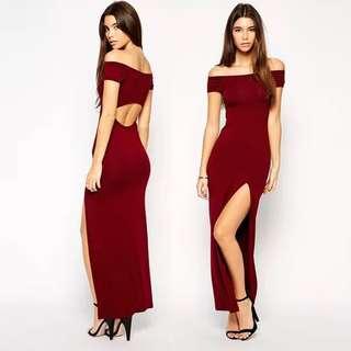 Off shoulder cut out back maxi dress - Elegant Red