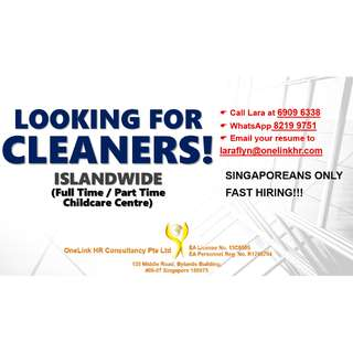 Childcare Cleaner (Islandwide)
