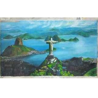 5.5 feet x 3.2 feet of canvas oil painting of Rio De Janeiro