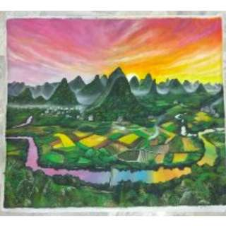 6 feet x 5 feet of canvas oil painting Li River and Nan Mountains