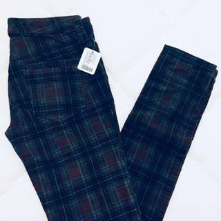 New Checked pants (colour wine) from Free People - Original $80