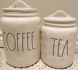 ⭐⭐⭐RAE DUNN BRAND NEW COFFEE AND TEA CANISTERS⭐⭐⭐  ⭐$90 COFFEE CANISTER ⭐ ⭐$75 TEA CANISTER ⭐