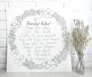 Botanical floral wreath poster