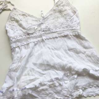 Lace/ silk white cami!