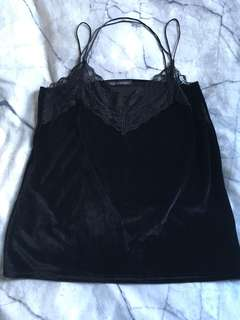 Black Lace Strappy Top