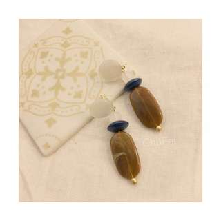 Chufei石紋stcat透白咖系耳環