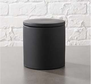 Crate & Barrel Rubber Coated Black Canister