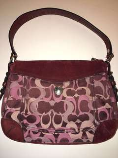 Coach Chelsea Signature Optic Purse - Burgundy