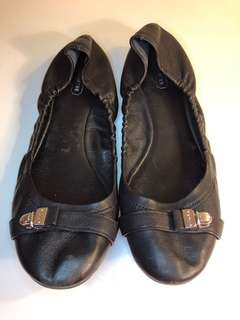 "Coach Black Leather ""Delphine"" Ballet Flats - 8M"