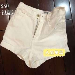 Meko  韓版白色麻混牛仔高腰短褲