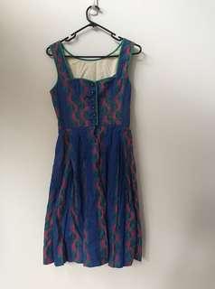 Blue and green vintage dirndl dress