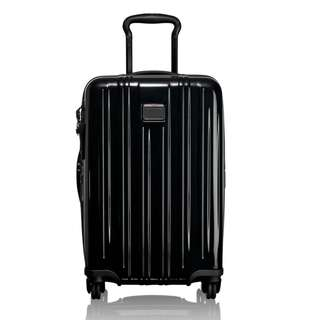 """Tumi V3 International Expandable Carry-On Carry on Cabin Size 22 inch 22"""" Suitcase Luggage 4 Wheel Wheeled Business Travel Work Bag Black Deep Blue"""
