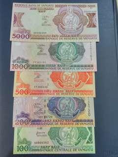 Vanuatu 100-5000 Vatu 5pcs set UNC