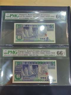 Singapore Ship $1 Dollar HTT low number D/18 000002, 000003 PMG 66 EPQ GEM Unc