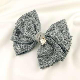 🚚 Handmade formal hair bow clip, women hair clip for work, big bow barrette, formal barrette clip, grey hair bow clip, hair bows for adult