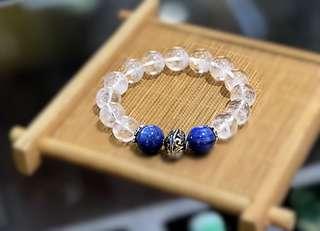 白幽灵蓝晶纯银手串(white phantom /kyanite &silver bracelet
