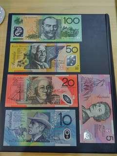 AUSTRALIA $5 to $100 5pcs set UNC polymer