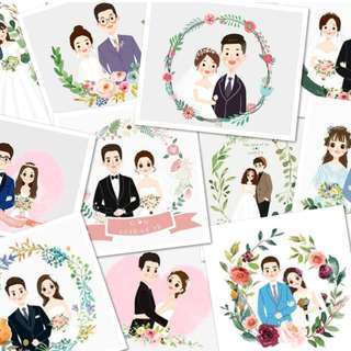 Digital Custom Wedding Portrait Illustration