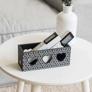 PO Monochrome Wooden Remote Control Multipurpose Holder