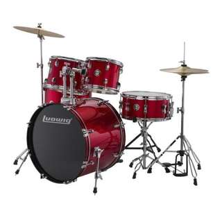 Ludwig LC17014DIR Accent Fuse 5-Piece Drums Set w/Hardware+Throne+Cymbal, Red Foil