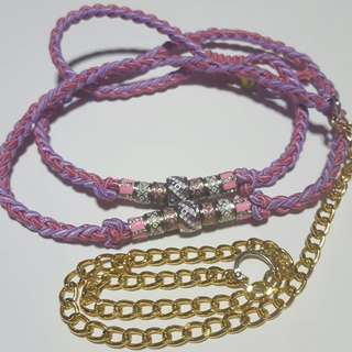 Customized Pink and Purple Dog Leash