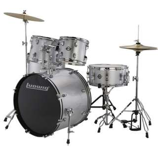 Ludwig LC17015DIR Accent Fuse 5-Piece Drums Set w/Hardware+Throne+Cymbal, Silver Foil