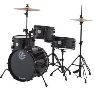Ludwig LC178X016DIR Pocket Kit 4-Piece Drum Kit w/Hardware+Cymbals, Black Sparkle