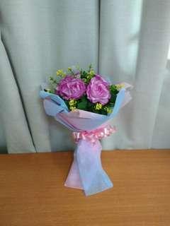 Handmade plastic bouquet flowers.