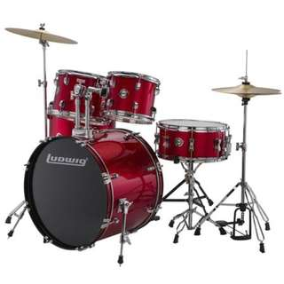 Ludwig LC17514DIR Accent Drive 5-Piece Drums Set w/Hardware+Throne+Cymbal, Red Foil