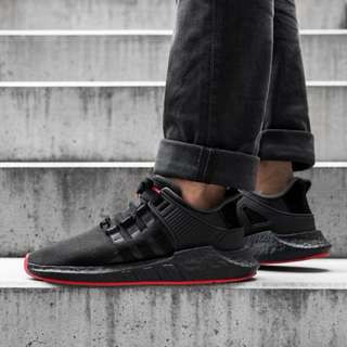 (PO) Adidas Mens EQT Support 93/17 Black Solar Red