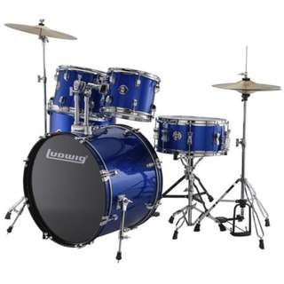 Ludwig LC17519DIR Accent Drive 5-Piece Drums Set w/Hardware+Throne+Cymbal, Blue Foil