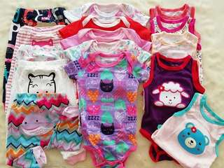 Carter pack  Size 3-6M  5 pc busha pants  5 pc short sleeve onesies 5 pc sleeveless onesies  Price 1860.00 free shipping via JRS