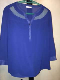 ✳️ Unica Hija Sheer 3/4 Royal Blue Blouse