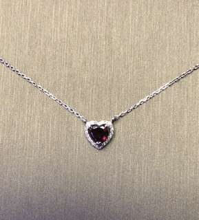 18k white gold diamond And Garnet necklace