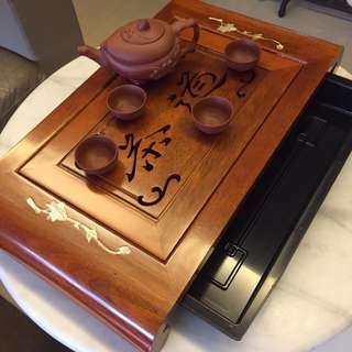 Traditional wooden tea tray with mother of pearl inlaid