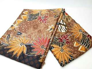 Kain ss ori batik Coklat motif daun