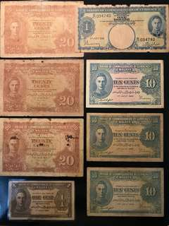 ⭐️ 8 Pcs Malaya Banknote Lot! 1941 Malaya King 👑 George 1 Cent, 10 Cents, 20 Cents & $1. Original Paper VF Condition, Deal As It Is In A Lot. Good fair Type Set Collector ⭐️
