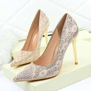 Size 34-40 Glitter Lace Pointed Toes High Heels